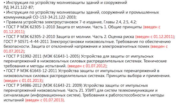 Российские нормативы по молниезащите (инструкции и ГОСТы)